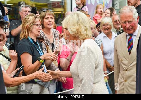 Honiton, Devon, UK.  18th July 2018.   The Duke and Duchess of Cornwall visit the Gate to Plate food market at Honiton in Devon.  Picture Credit: Graham Hunt/Alamy Live News - Stock Photo