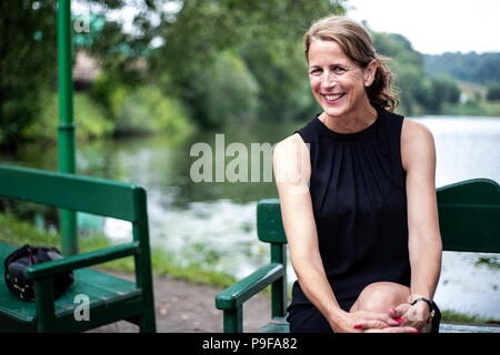 Russia. 18th July, 2018. TULA REGION, RUSSIA - JULY 18, 2018: Lawyer Tatyana Tolstaya, a Swedish-based great-great-granddaughter of Russian writer Leo Tolstoy, at the Yasnaya Polyana museum-estate in the Tula Region, where his descendants and relatives gather from all over the world ahead of his 190th birthday. Sergei Bobylev/TASS Credit: ITAR-TASS News Agency/Alamy Live News - Stock Photo