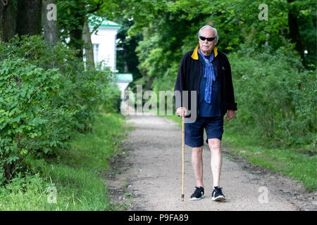 Russia. 18th July, 2018. TULA REGION, RUSSIA - JULY 18, 2018: Alexander Tolstoy, a great-grandson of Russian writer Leo Tolstoy, at the Yasnaya Polyana museum-estate in the Tula Region, where his descendants and relatives gather from all over the world ahead of his 190th birthday. Sergei Bobylev/TASS Credit: ITAR-TASS News Agency/Alamy Live News - Stock Photo