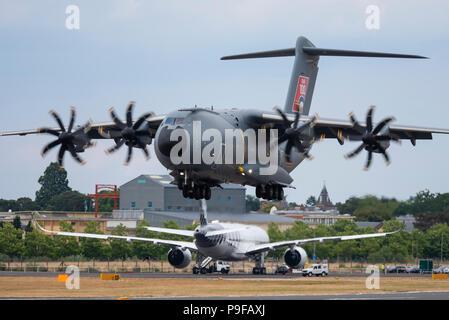 Airbus A400M Atlas transport plane at Farnborough Airport, Hampshire, UK. Farnborough International Airshow 2018.  Aerospace trade event - Stock Photo