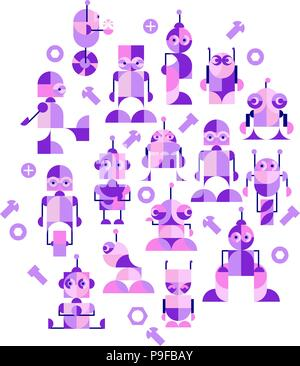 Nursery Childish Seamless Pattern Background with robots. Decorativ Style Trendy Textile, Wallpaper, Wrapping Paper, Kids Apparel Design. - Stock Photo