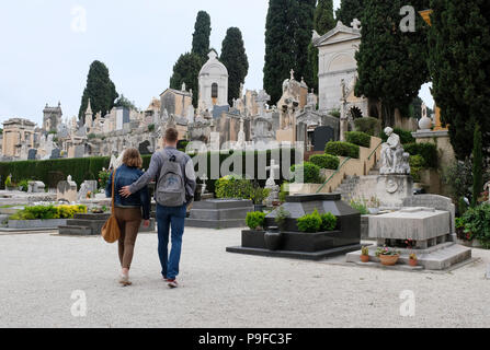 Nice, France. Young man and woman visiting the Chateau Cemetery, Castle Hill. - Stock Photo