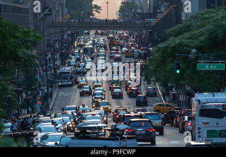 Congestion of pedestrians and cars in Manhattan, New York City. - Stock Photo