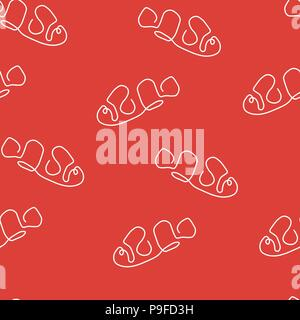 Clown fish animal pattern seamless. Vector illustration. Red background. - Stock Photo