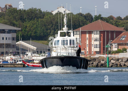 The Heron on the River Wear at Sunderland in north-east England. The boat transports pilots. - Stock Photo