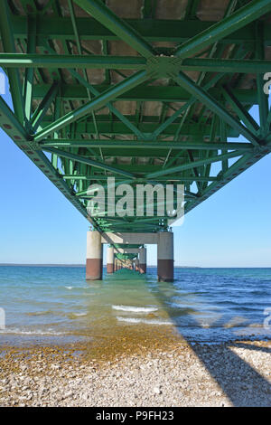 A view of the underneath of the Mackinac Bridge in Mackinaw City, Michigan looking north from the lower peninsula to the upper peninsula. - Stock Photo