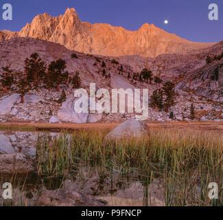 Moonset, Grass Lake, Meysan Trail, John Muir Wilderness, Inyo National Forest, Eastern Sierra, California , - Stock Photo