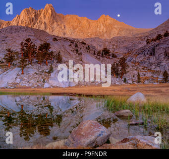 Moonset, Grass Lake, Meysan Trail, Meysan Lake, John Muir Wilderness, Inyo National Forest, Eastern Sierra, California - Stock Photo