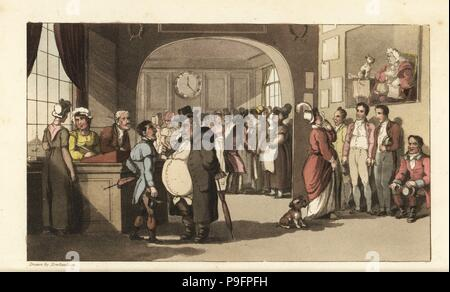 Johnny looking for work at a registry office for domestic servants. Men and women with monocles examining porters, maids and other staff. Handcoloured copperplate engraving by Thomas Rowlandson from William Combe's The History of Johnny Quae Genus, the Little Foundling of the late Doctor Syntax, Ackermann, London, 1822. - Stock Photo