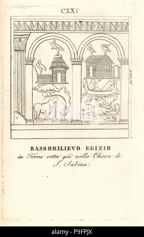 Egyptian bas relief in terracotta from the Basilica of Saint Sabina, Rome. Copperplate engraving from Pietro Paolo Montagnani-Mirabili's Il Museo Capitolino (The Capitoline Museum), Rome, 1820. - Stock Photo