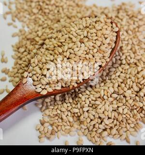 Sesame and spoon, Food Ingredients - Stock Photo