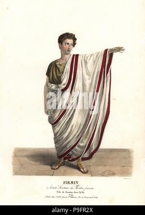 Jean-Baptiste Firmin as Faustus in the tragedy Sylla by Victor Joseph Etienne de Jouy, Theatre Francais, 1826. Handcoloured lithograph by F. Noel after an illustration by Alexandre-Marie Colin from Portraits d'Acteurs et d'Actrices dans different roles, F. Noel, Paris, 1826. - Stock Photo