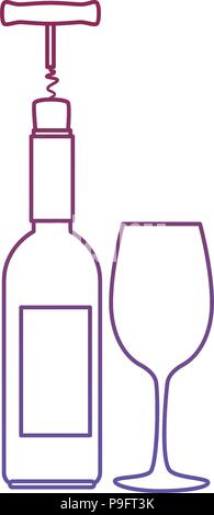 wine bottle silhouette with corkscrew and cup - Stock Photo