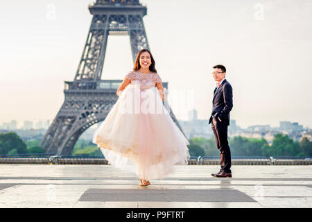 A beautiful Asian couple in Paris, France