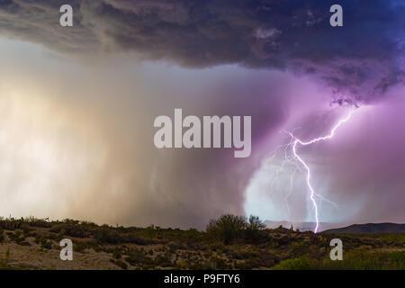 Lightning strikes beside a powerful microburst from a monsoon thunderstorm near Florence, Arizona. Stock Photo