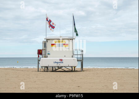 Lifeguard station on Branksome beach on a cool summer's day - Stock Photo