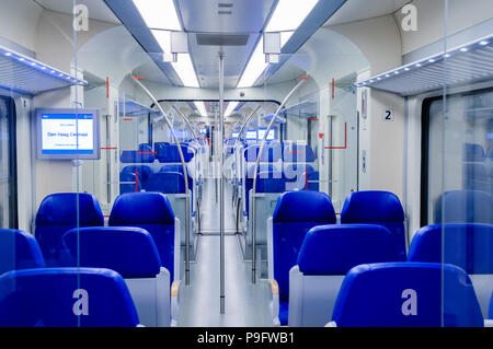 Empty tram at the Hague, Netherlands. - Stock Photo