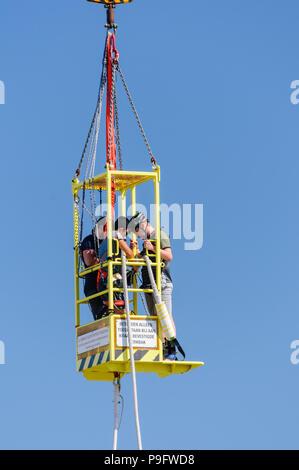 Bungy jumping at Schevinengen Pier, The Hague, Netherlands - Stock Photo