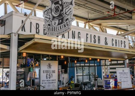 Fish and chips stall inside Scheveningen Pier, The Hague, Netherlands. - Stock Photo