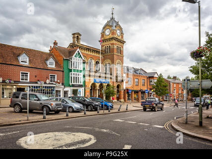 Ancient High Street and Town Hall of Hungerford, Berkshire, UK taken on 17 July 2018 - Stock Photo