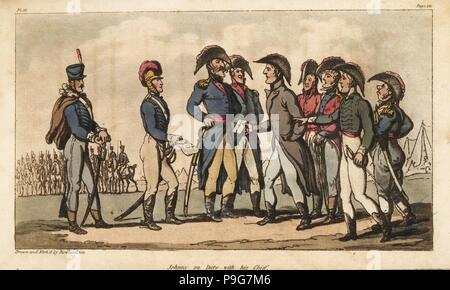 Captain Johnny Newcome on duty as Aide de Camp to the Duke of Wellington during the Peninsula Campaign. Handcoloured copperplate engraving drawn and etched by Thomas Rowlandson from Colonel David Roberts' The Military Adventures of Johnny Newcome, Martin, London, 1815. - Stock Photo