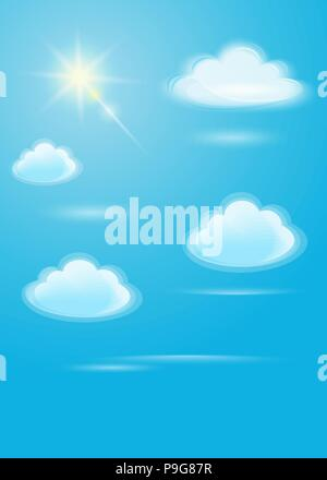 Translucent white clouds and bright sun on a blue sky background. Sunlight special lens flare light effect in clear blue sky. Vector illustration - Stock Photo