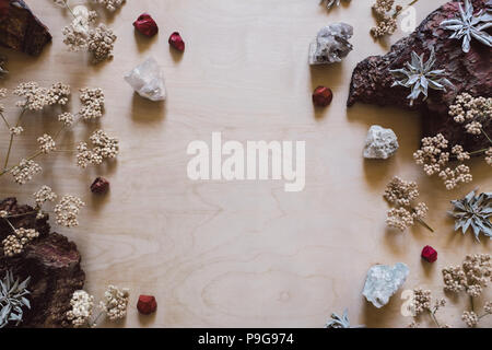 Native Flowers and Sage with Red Jasper and Quartz with Space for Copy - Stock Photo
