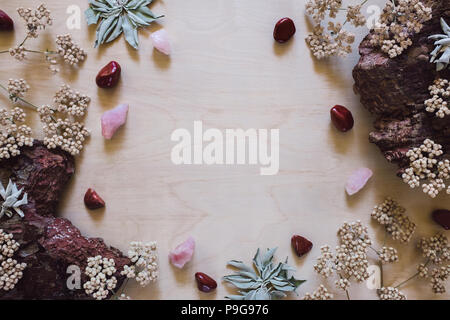Native Flowers and Sage with Red Jasper and Rose Quartz with Space for Copy - Stock Photo