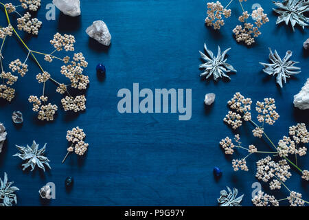 White Sage and Native Flowers with Quartz and Blue Agate, arranged with Space for Copy - Stock Photo