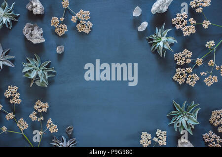 White Sage, Quartz and Native Flowers with Space for Copy - Stock Photo