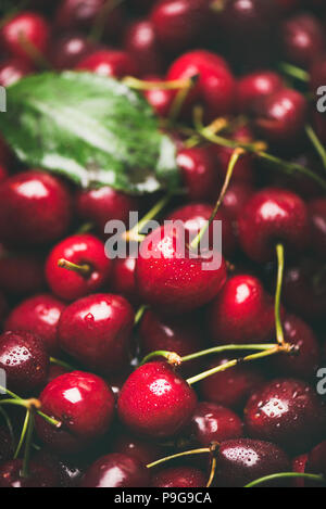 Fresh sweet cherry texture, wallpaper and background, selective focus - Stock Photo