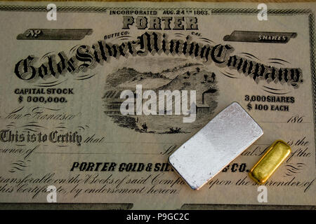 1860s Mining Company Stock Certificate - California USA - Silver and Gold Bar - Stock Photo
