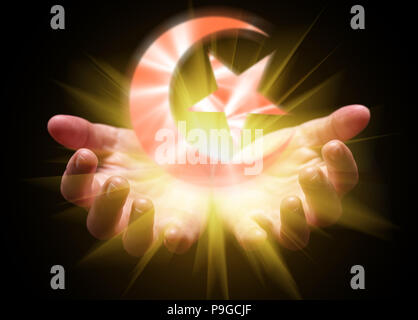 Hands cupped and holding or showing the Crescent. Moon and Star with bright, glowing, shining light. Concept for Islam, Islamic, Muslim, Arab, Arabic, - Stock Photo