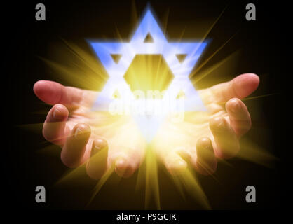 Hands cupped and holding or showing the Star of David. Magen David or Seal of Solomon with bright, glowing, shining light. Concept for Judaism, Jew, H - Stock Photo