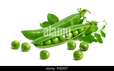 Fresh green split pod and peas isolated on white background. Package design element with clipping path - Stock Photo