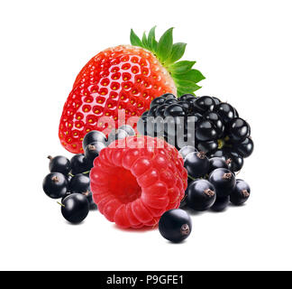 Strawberry, raspberry, black and red currant berry mix isolated on white background for tea package design - Stock Photo