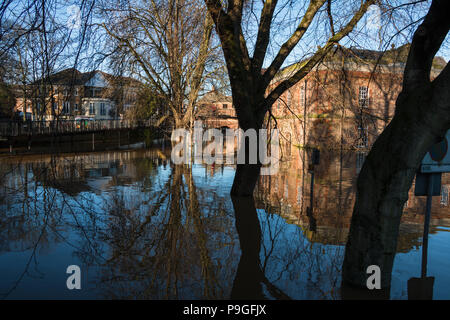 Looking down the flooded Terry Avenue towards Skeldergate - Stock Photo