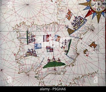 Atlas of Joan Martines, Messina, 1582, in the Iberian Peninsula portulan chart. - Stock Photo