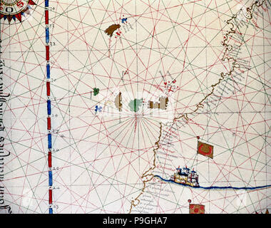 Atlas of Joan Martines, Messina, 1582. Portulan chart of the Canary Islands and the west coast of… - Stock Photo