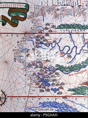 Atlas of Joan Martines, Messina, 1582. Portulan chart of the West Coast of America (Peru, Ecuador… - Stock Photo