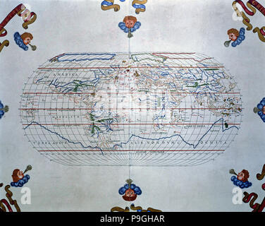 Atlas of Joan Martines, Messina, 1582. World map of the lands known in the 16th century. - Stock Photo