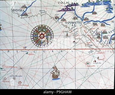 Atlas of Joan Martines, Messina, 1582. Portulan chart of Alta and Baja California and the Pacific… - Stock Photo