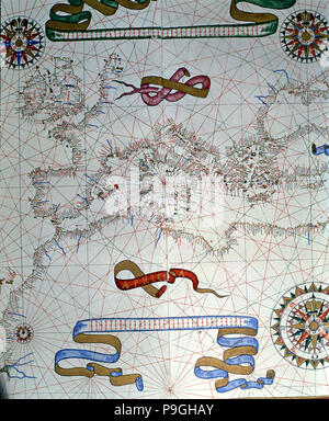 Atlas of Joan Martines, Messina, 1582. Portulan chart of southern Europe and coasts of North Africa. - Stock Photo