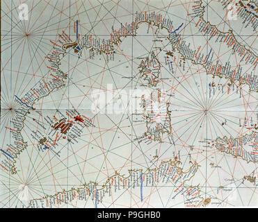 Atlas of Joan Martines, Messina, 1582. Portulan chart of western Mediterranean, with European coa… - Stock Photo