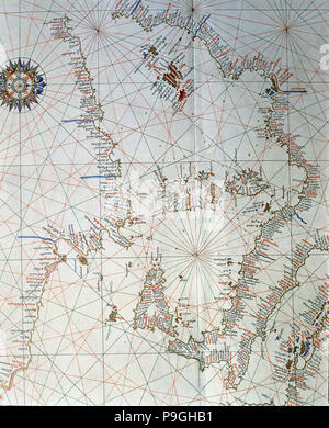 Atlas of Joan Martines, Messina, 1582. Portulan chart of the western Mediterranean, with Italy, E… - Stock Photo