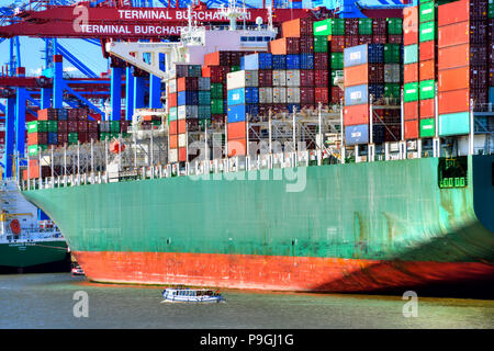Container ship in the Port of Hamburg, Germany, Europe - Stock Photo