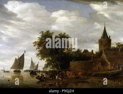 'River Scene with Ferry', 1664 by Salomon Ruisdael. - Stock Photo