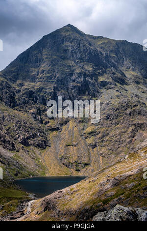 The east face of Snowdon, the highest mountain in Wales during summer with Llyn Glaslyn at the base.