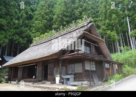 Thatched roof house in Japan - Stock Photo