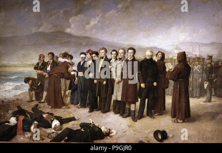 Execution of Jose Maria de Torrijos and his companions on the beaches of Malaga, oil on canvas, 1… - Stock Photo